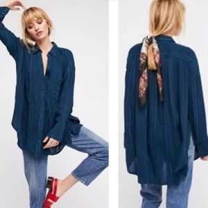 Free People Cozy Nights Hi-lo Button Down Shirt